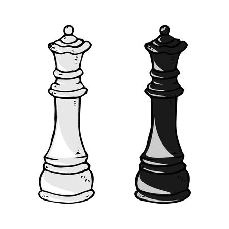 Chess piece icon. Vector illustration queen. Chess piece queen. Hand drawn