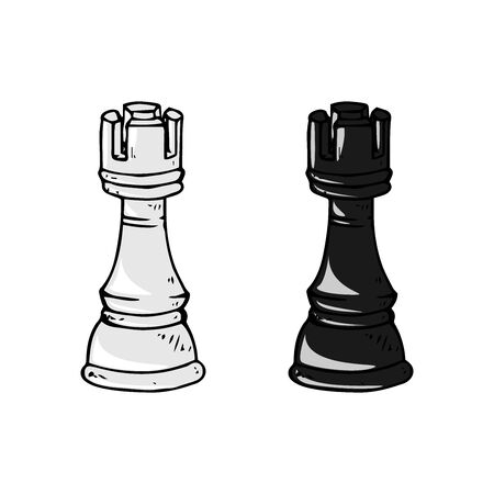 Chess piece icon. Vector illustration of rook. Chess piece rook. Hand drawn vector illustration.  イラスト・ベクター素材