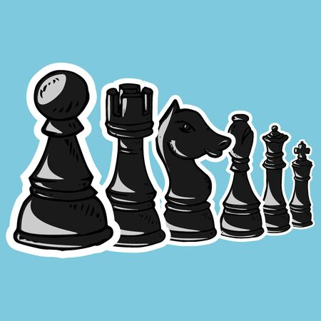 Chess piece icon. Vector illustration set of chess pieces. Pawn, knight, horse, bishop, elephant, rook, queen, king. Hand drawn.  イラスト・ベクター素材
