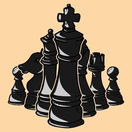 Schachfigur-Symbol. Vektorillustrationssatz Schachfiguren. Bauer, Ritter, Pferd, Läufer, Elefant, Turm, Königin, König. Handgemalt.