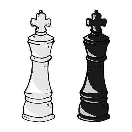 Chess piece icon. Vector illustration king. Chess piece king. Hand drawn