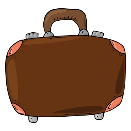 Suitcase icon. Vector illustration of a suitcase for things. Hand drawn suitcase for travel. Ilustração