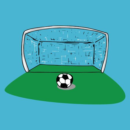 Football goal icon. Vector illustration of football goal with ball. Hand drawn ball near the football goal. Ilustracja