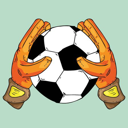 Glove goalkeeper icon. Vector illustration of goalkeeper glove with ball. Hand drawn goalkeeper glove with a soccer ball.