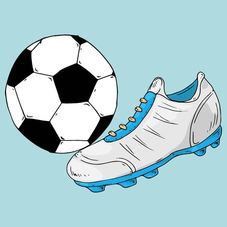 Ball icon. Vector illustration of a soccer ball with a football boot. Hand drawn shoes and ball for playing soccer. 矢量图像