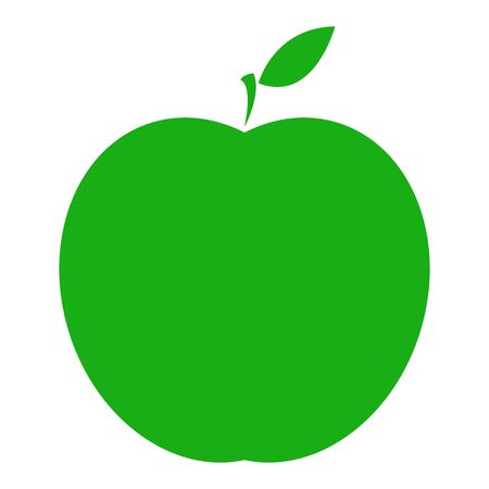 Vector illustration of a sliced green apple. Icon of a fresh apple.