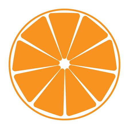 Vector illustration of an orange in a cut. Half of an orange is isolated on a white background.