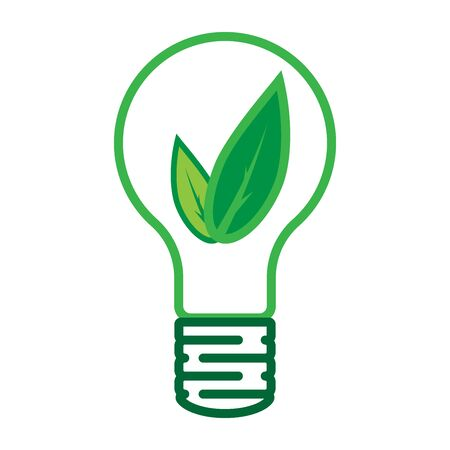 Vector illustration of a green leaf in an incandescent bulb. Concept of ecology and environmental protection.