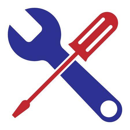 Ilustracja wektorowa narzędzi śrubokrętem i kluczem.