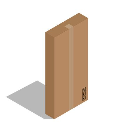 Packing cardboard box. Vector illustration of a big gift box.  Gift box, packing.