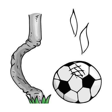Soccer ball icon. Vector illustration of a soccer ball hit the goal of a football goal. Hand drawn football goalpost with ball.
