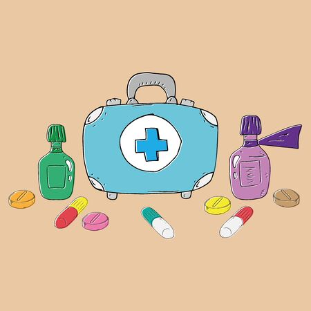 Set of medications. Medical kit icon. Vector illustration first aid kit. Hand drawn medical equipment with a suitcase. Иллюстрация