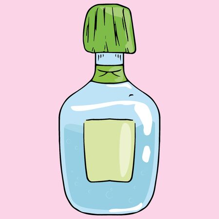 Jar medical of medicine icon. Vector illustration of a jar for liquid. Hand drawn jar with a blank tag. Medical bottle.