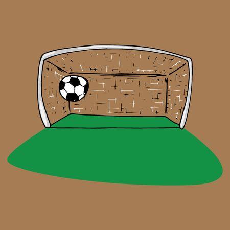 Football goal icon. Vector illustration of football goal with ball. Hand drawn ball near the football goal. Ilustrace