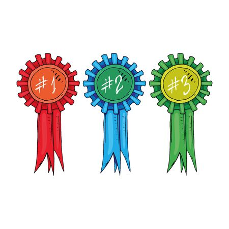 Reward icon. Vector illustration of incentive prize with ribbons for first, second and third place. Hand drawn reward for 1, 2 and 3 places. Trophy with laurel branches. Фото со стока - 132087211
