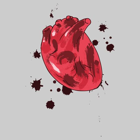 Heart icon. Vector illustration of a human heart. Anatomical heart with blood drops hand drawn.