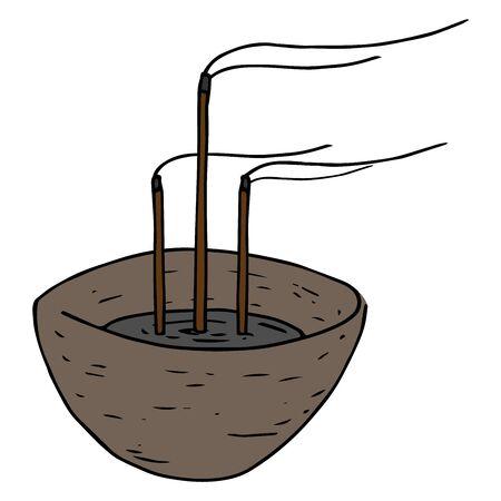 Icône d'encens. Encens chinois illustration vectorielle de bâtons. Bâtons d'encens dessinés à la main. Vecteurs
