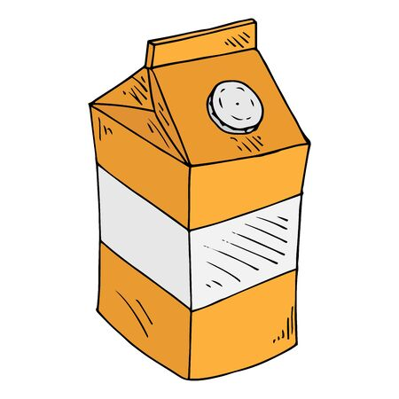 Vector illustration of a package of juice or milk. Packing for liquid products. Hand drawn.