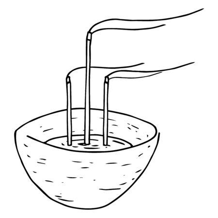 Incense icon. Chinese incense sticks vector illustration. Incense sticks hand drawn.