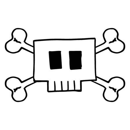 Vector illustration of a cartoon square skull. Hand drawv square skull. Illustration