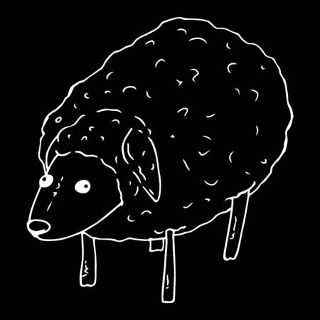 Vector illustration of a sheep, a ram. Hand drawn sheep.