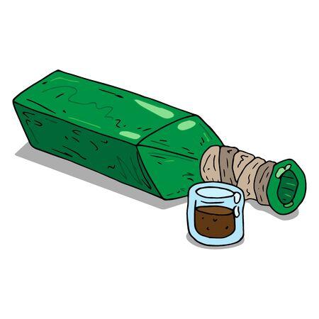 Vector illustration of a bottle of vodka or alcohol.  Hand drawn bottle.