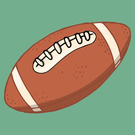 Rugby ball. Vector illustration of a rugby ball. Hand drawn ball with lacing for playing American football rugby.