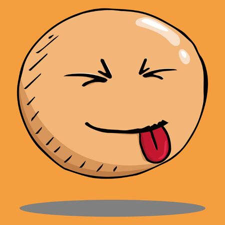 Smile face icon. Vector illustration face with emotions. Hand drawn face showing tongue. 일러스트