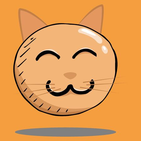 Smile face icon. Vector illustration face with emotions. Hand drawn cute cat face.