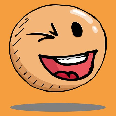 Smile face icon. Vector illustration face with emotions. Hand drawn winking face. 일러스트