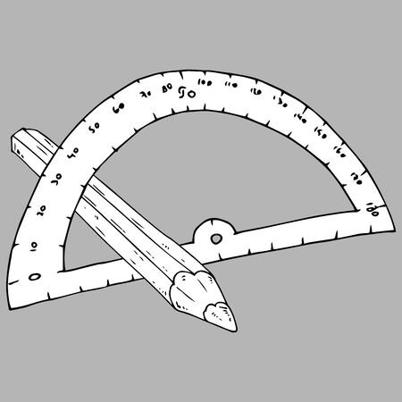 Protractor for geometry icon. Vector illustration of a protractor with a ruler. Hand drawn drawing and drawing tool. Ilustracja