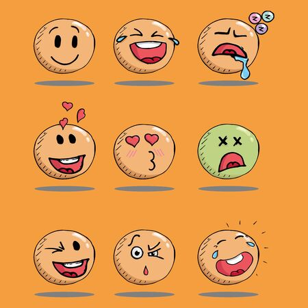 Smiling face icon. Face with a smile. Vector illustration set of emoticons with different emotions. Hand drawn set of emoticons.