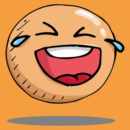 Smiling face icon. Face with a smile. Vector illustration of a laughing face. Hand drawn laughing face.