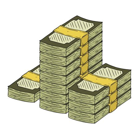 Money icon. Vector illustration of a pack of dollar bills. Hand drawn money in a bundle. Stok Fotoğraf - 133736565