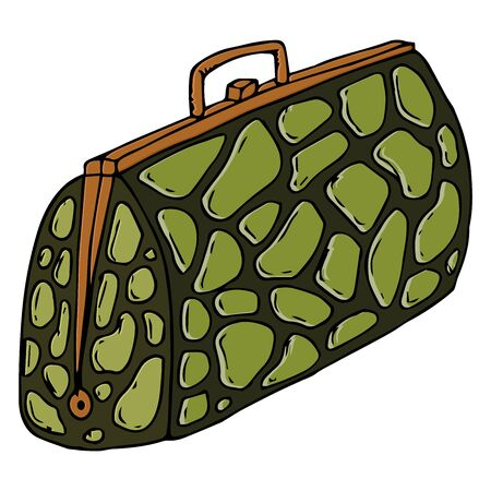 Bag icon. Vector illustration of a bag of crocodile skin. Hand drawn bag with crocodile skin texture. Archivio Fotografico - 133736581