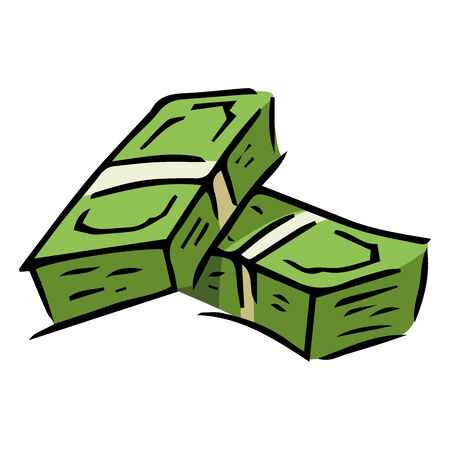 Money icon. Vector illustration of a pack of dollar bills. Hand drawn money in a bundle.