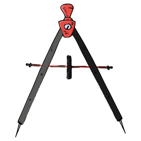 Compass for geometry icon. Vector illustration of a compass. Hand drawn drawing and drawing tool.