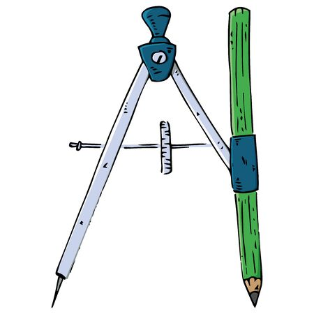 Compass with pencil for geometry icon. Vector illustration of a compass with a pencil. Hand drawn drawing and drawing tool.