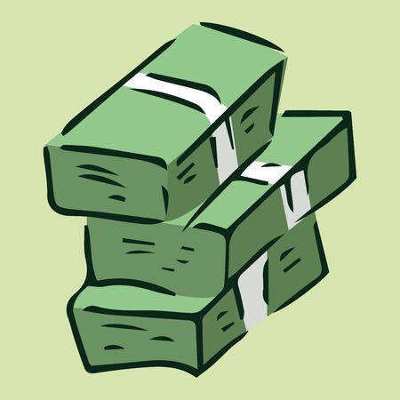 Money icon. Vector illustration of a pack of dollar bills. Hand drawn money in a bundle. Stok Fotoğraf - 133736630