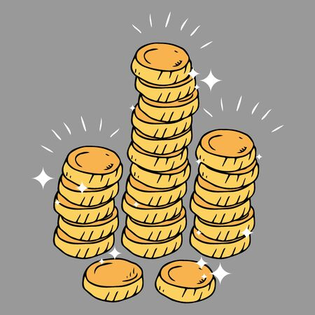 Coins icon. Vector illustration money. Hand drawn stack of coins.