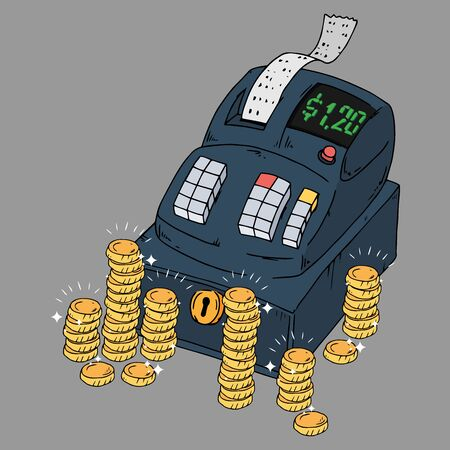 Cash register icon. Vector illustration of a cash register with check and bill. Hand drawn cash register for a store.