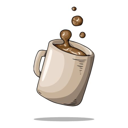 Mug with coffee icon. Vector illustration of a mug with liquid. Hand drawn hot mug with splashes.