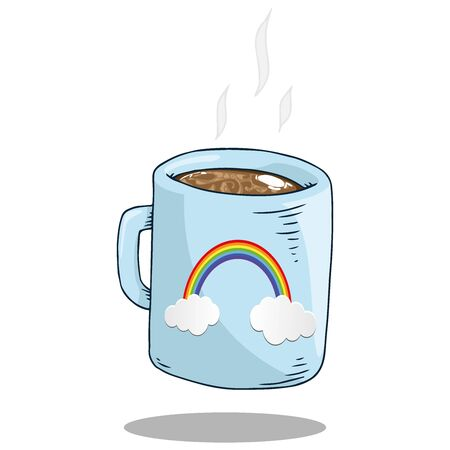 Mug with coffee icon. Vector illustration of a mug with cocoa cappuccino. Hand drawn hot mug with rainbow.