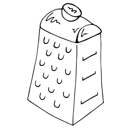 Grater icon. Vector illustration of a grater. Hand drawn grater for vegetables.