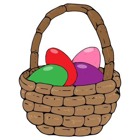 Basket with colored eggs icon. Vector of a wicker basket with painted eggs for easter. Hand drawn basket with colored eggs. Illusztráció