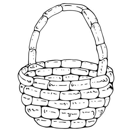 Korb-Symbol. Vektorillustration eines leeren Weidenkorbes. Handgezeichneter leerer Korb.