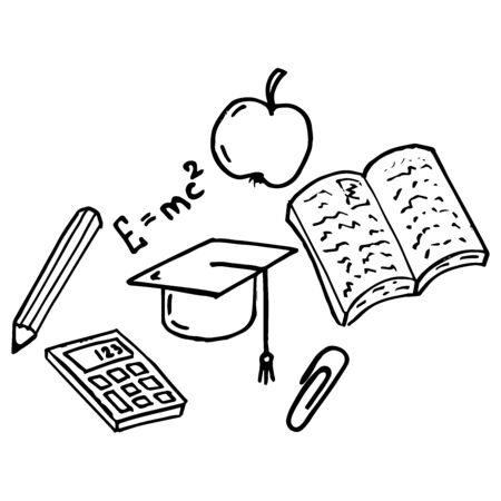 Set on a school theme. Vector illustration of a textbook, calculator, apple and pencil set on a school theme.