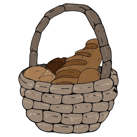 Basket with bread icon. Vector illustration of bread in a wicker basket. Hand drawn basket with bread and buns. Çizim