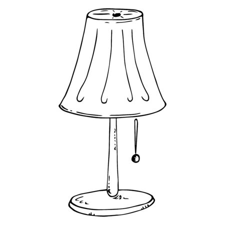Nightlight icon. Vector illustration of a table lamp. Floor lamp. Hand drawn nightlight. Çizim