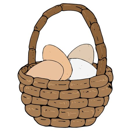 Vector illustration of a wicker basket with eggs. Hand drawn basket with eggs.